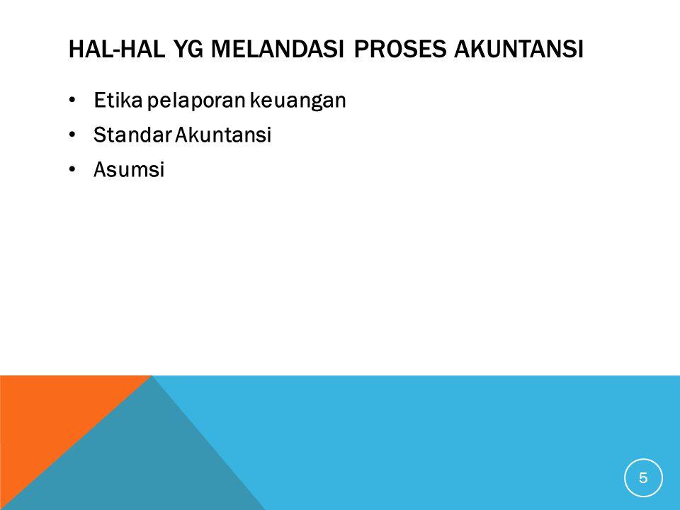 HAL-HAL YG MELANDASI PROSES AKUNTANSI • Etika pelaporan keuangan • Standar Akuntansi • Asumsi 5