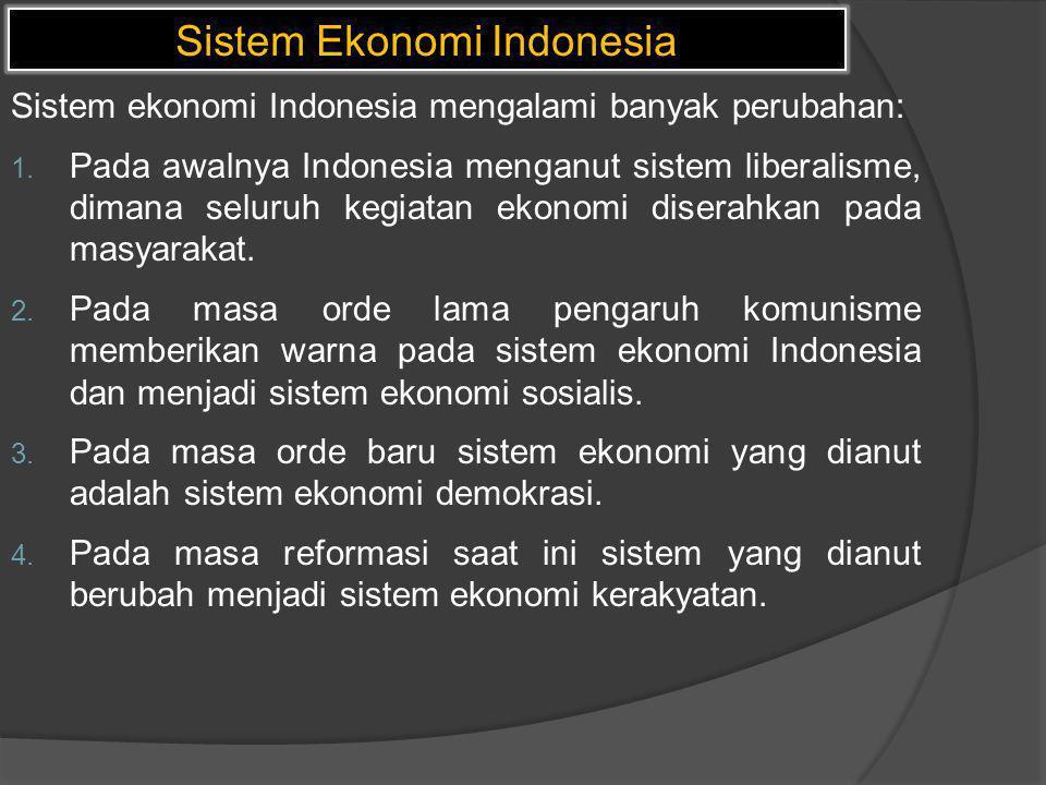 Sistem Ekonomi Indonesia Sistem ekonomi Indonesia mengalami banyak perubahan: 1. Pada awalnya Indonesia menganut sistem liberalisme, dimana seluruh ke