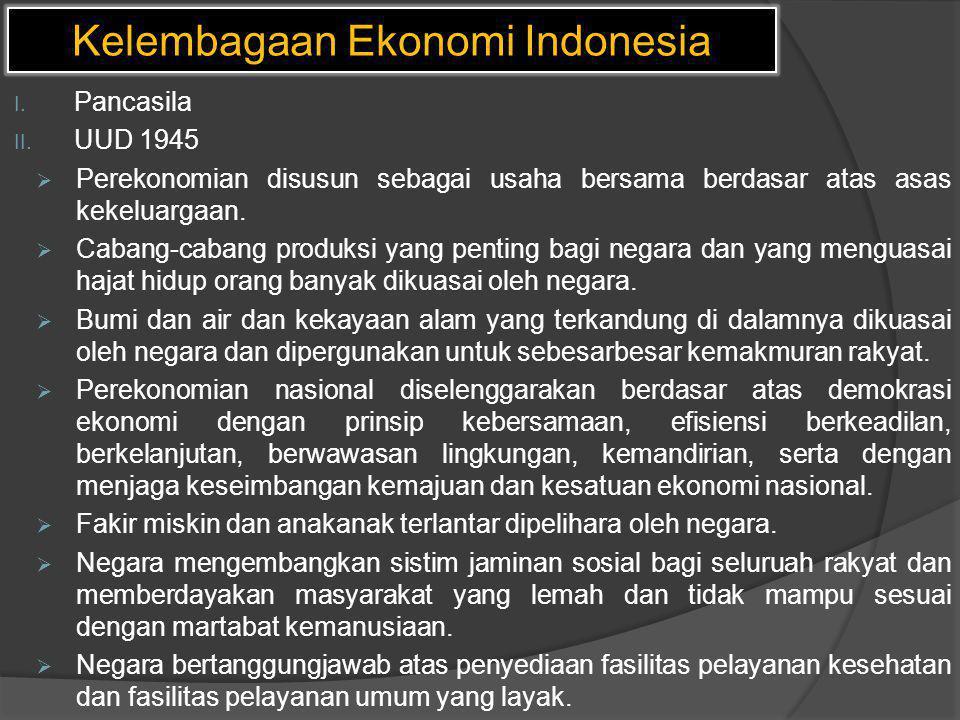 Kelembagaan Ekonomi Indonesia I. Pancasila II. UUD 1945  Perekonomian disusun sebagai usaha bersama berdasar atas asas kekeluargaan.  Cabang-cabang