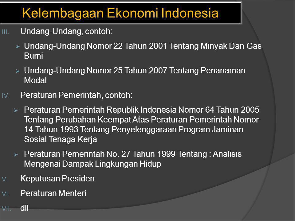 Kelembagaan Ekonomi Indonesia III. Undang-Undang, contoh:  Undang-Undang Nomor 22 Tahun 2001 Tentang Minyak Dan Gas Bumi  Undang-Undang Nomor 25 Tah