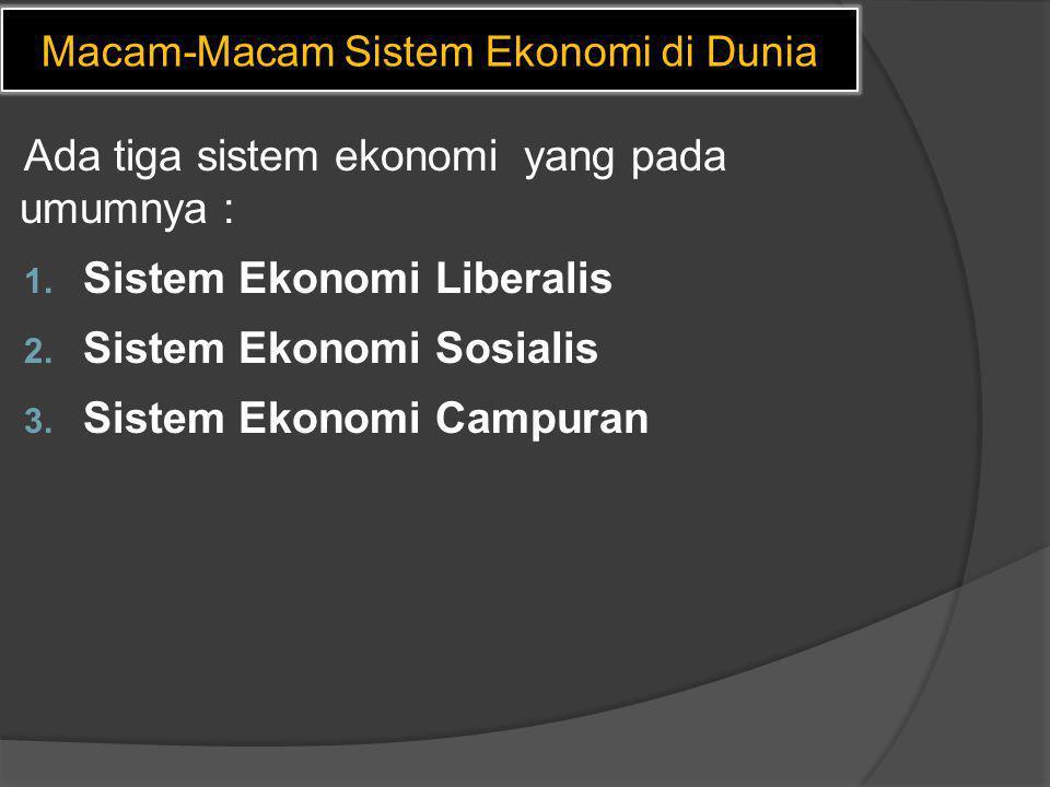 Macam-Macam Sistem Ekonomi di Dunia Ada tiga sistem ekonomi yang pada umumnya : 1. Sistem Ekonomi Liberalis 2. Sistem Ekonomi Sosialis 3. Sistem Ekono