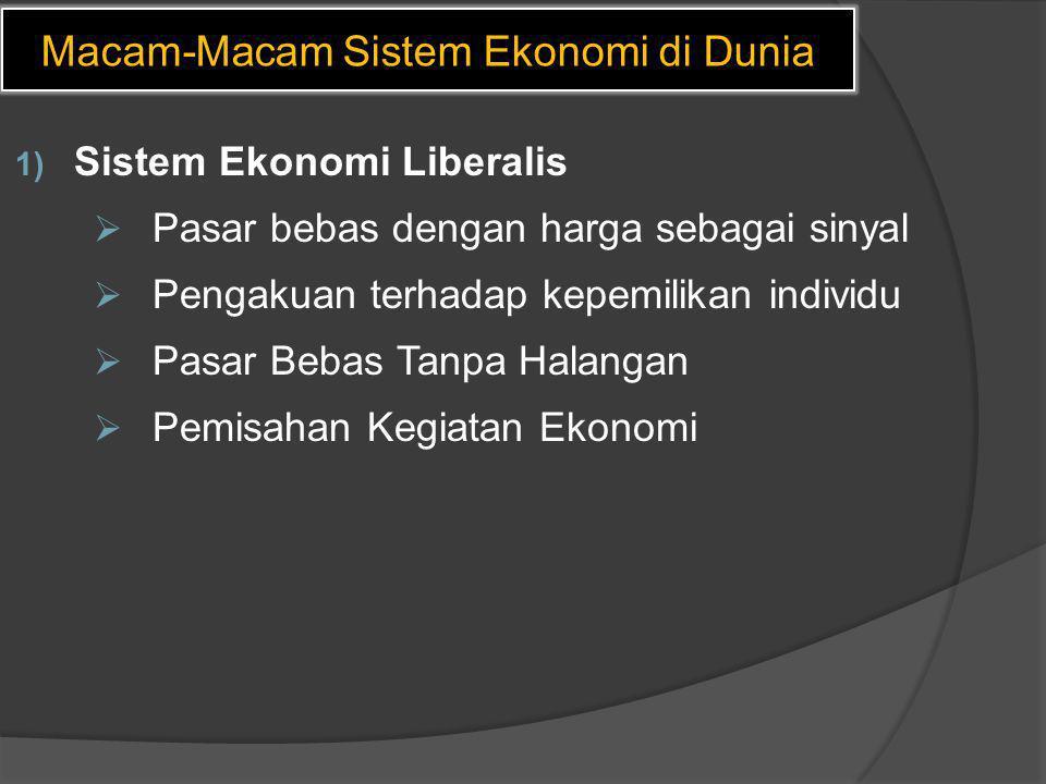 Macam-Macam Sistem Ekonomi di Dunia 1) Sistem Ekonomi Liberalis  Pasar bebas dengan harga sebagai sinyal  Pengakuan terhadap kepemilikan individu 