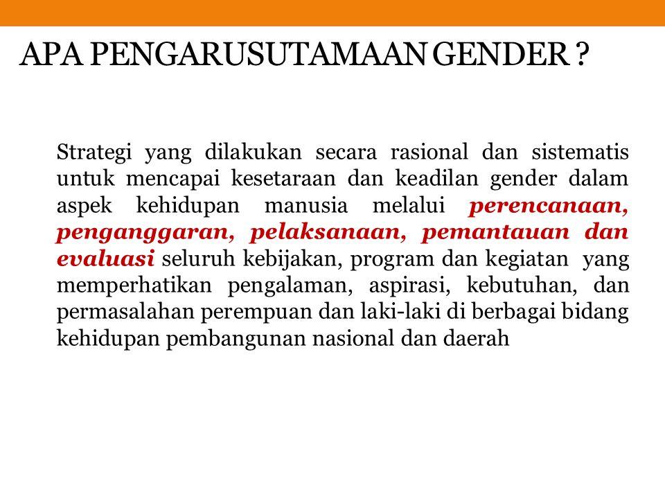 APA PENGARUSUTAMAAN GENDER ? Strategi yang dilakukan secara rasional dan sistematis untuk mencapai kesetaraan dan keadilan gender dalam aspek kehidupa