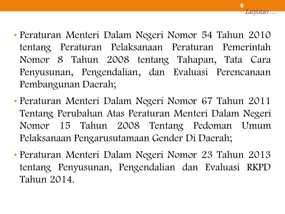 Lanjutan … • Peraturan Menteri Dalam Negeri Nomor 54 Tahun 2010 tentang Peraturan Pelaksanaan Peraturan Pemerintah Nomor 8 Tahun 2008 tentang Tahapan,