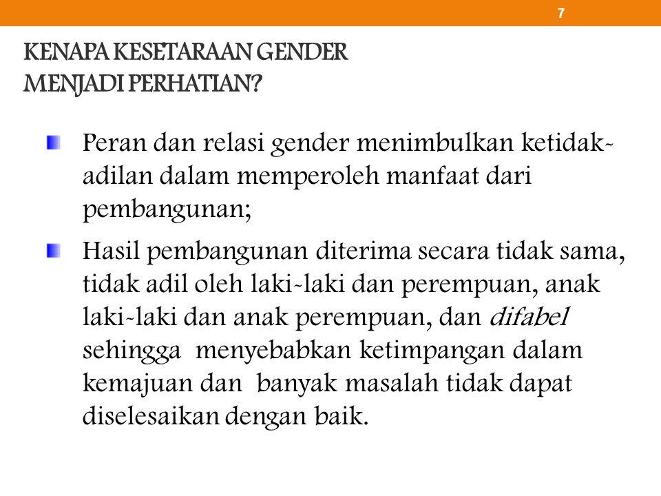 KENAPA KESETARAAN GENDER MENJADI PERHATIAN? Peran dan relasi gender menimbulkan ketidak- adilan dalam memperoleh manfaat dari pembangunan; Hasil pemba