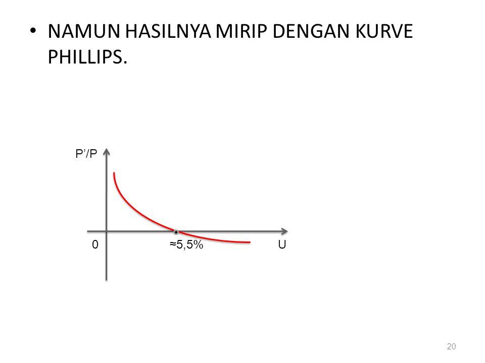 • NAMUN HASILNYA MIRIP DENGAN KURVE PHILLIPS. 20 P'/P U≈5,5%0