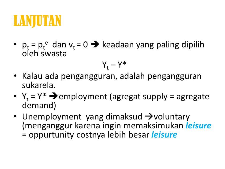• p t = p t e dan v t = 0  keadaan yang paling dipilih oleh swasta Y t – Y* • Kalau ada pengangguran, adalah pengangguran sukarela. • Y t = Y*  empl
