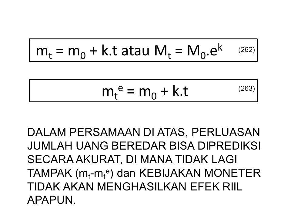 m t = m 0 + k.t atau M t = M 0.e k m t e = m 0 + k.t (262) (263) DALAM PERSAMAAN DI ATAS, PERLUASAN JUMLAH UANG BEREDAR BISA DIPREDIKSI SECARA AKURAT,