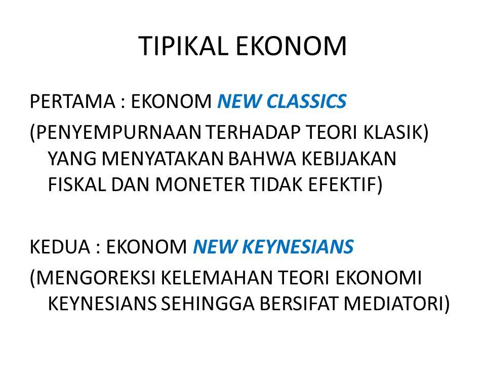PERTAMA : EKONOM NEW CLASSICS (PENYEMPURNAAN TERHADAP TEORI KLASIK) YANG MENYATAKAN BAHWA KEBIJAKAN FISKAL DAN MONETER TIDAK EFEKTIF) KEDUA : EKONOM N