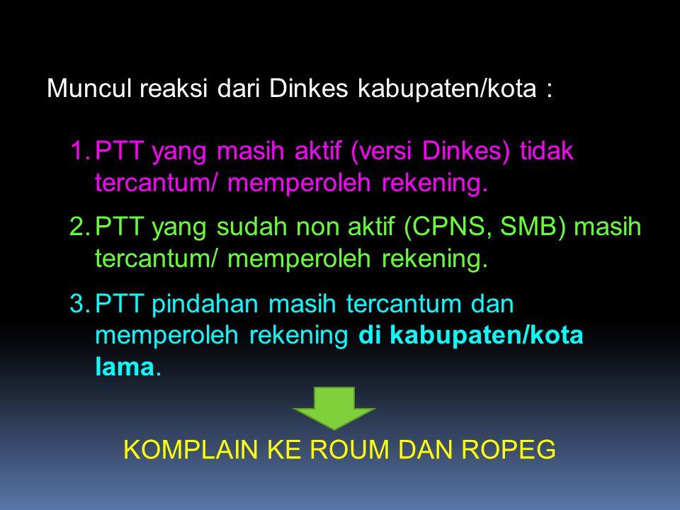 1.PTT yang masih aktif (versi Dinkes) tidak tercantum/ memperoleh rekening. 2.PTT yang sudah non aktif (CPNS, SMB) masih tercantum/ memperoleh rekenin