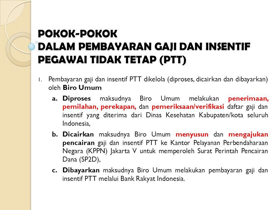 POKOK-POKOK DALAM PEMBAYARAN GAJI DAN INSENTIF PEGAWAI TIDAK TETAP (PTT) 1. Pembayaran gaji dan insentif PTT dikelola (diproses, dicairkan dan dibayar