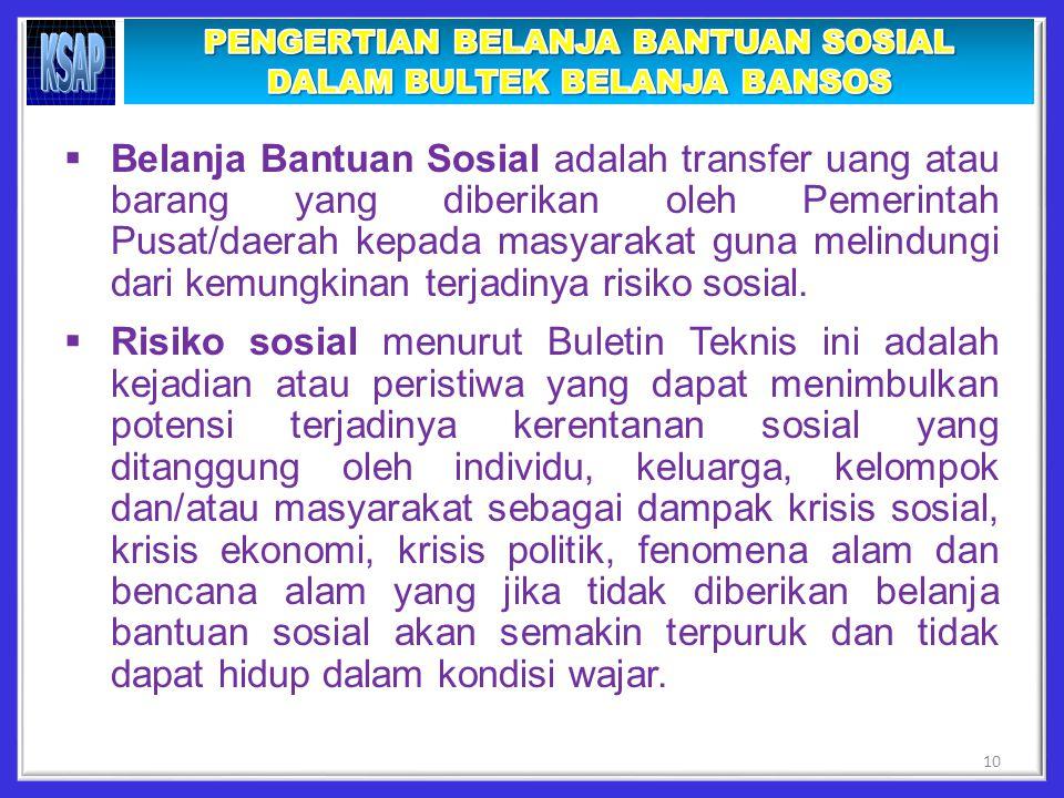  Belanja Bantuan Sosial adalah transfer uang atau barang yang diberikan oleh Pemerintah Pusat/daerah kepada masyarakat guna melindungi dari kemungkinan terjadinya risiko sosial.