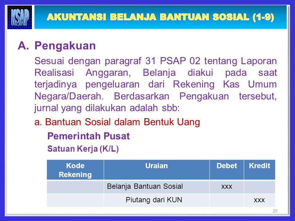 A.Pengakuan Sesuai dengan paragraf 31 PSAP 02 tentang Laporan Realisasi Anggaran, Belanja diakui pada saat terjadinya pengeluaran dari Rekening Kas Umum Negara/Daerah.