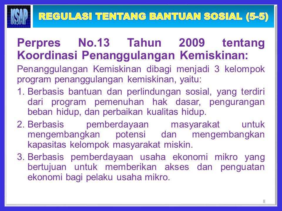 Perpres No.13 Tahun 2009 tentang Koordinasi Penanggulangan Kemiskinan: Penanggulangan Kemiskinan dibagi menjadi 3 kelompok program penanggulangan kemiskinan, yaitu: 1.Berbasis bantuan dan perlindungan sosial, yang terdiri dari program pemenuhan hak dasar, pengurangan beban hidup, dan perbaikan kualitas hidup.