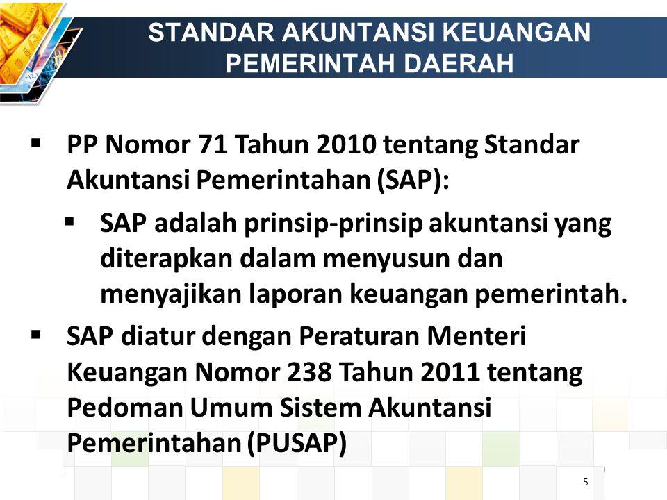 5 STANDAR AKUNTANSI KEUANGAN PEMERINTAH DAERAH  PP Nomor 71 Tahun 2010 tentang Standar Akuntansi Pemerintahan (SAP):  SAP adalah prinsip-prinsip akuntansi yang diterapkan dalam menyusun dan menyajikan laporan keuangan pemerintah.