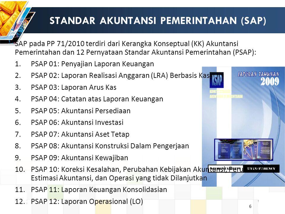 6 STANDAR AKUNTANSI PEMERINTAHAN (SAP) SAP pada PP 71/2010 terdiri dari Kerangka Konseptual (KK) Akuntansi Pemerintahan dan 12 Pernyataan Standar Akuntansi Pemerintahan (PSAP): 1.PSAP 01: Penyajian Laporan Keuangan 2.PSAP 02: Laporan Realisasi Anggaran (LRA) Berbasis Kas 3.PSAP 03: Laporan Arus Kas 4.PSAP 04: Catatan atas Laporan Keuangan 5.PSAP 05: Akuntansi Persediaan 6.PSAP 06: Akuntansi Investasi 7.PSAP 07: Akuntansi Aset Tetap 8.PSAP 08: Akuntansi Konstruksi Dalam Pengerjaan 9.PSAP 09: Akuntansi Kewajiban 10.PSAP 10: Koreksi Kesalahan, Perubahan Kebijakan Akuntansi, Perubahan Estimasi Akuntansi, dan Operasi yang tidak Dilanjutkan 11.PSAP 11: Laporan Keuangan Konsolidasian 12.PSAP 12: Laporan Operasional (LO)