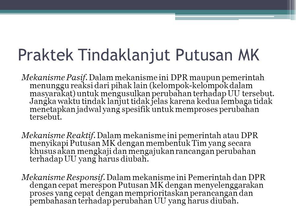 Praktek Tindaklanjut Putusan MK Mekanisme Pasif. Dalam mekanisme ini DPR maupun pemerintah menunggu reaksi dari pihak lain (kelompok-kelompok dalam ma