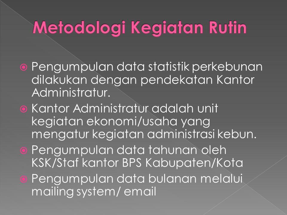  Pengumpulan data statistik perkebunan dilakukan dengan pendekatan Kantor Administratur.  Kantor Administratur adalah unit kegiatan ekonomi/usaha ya