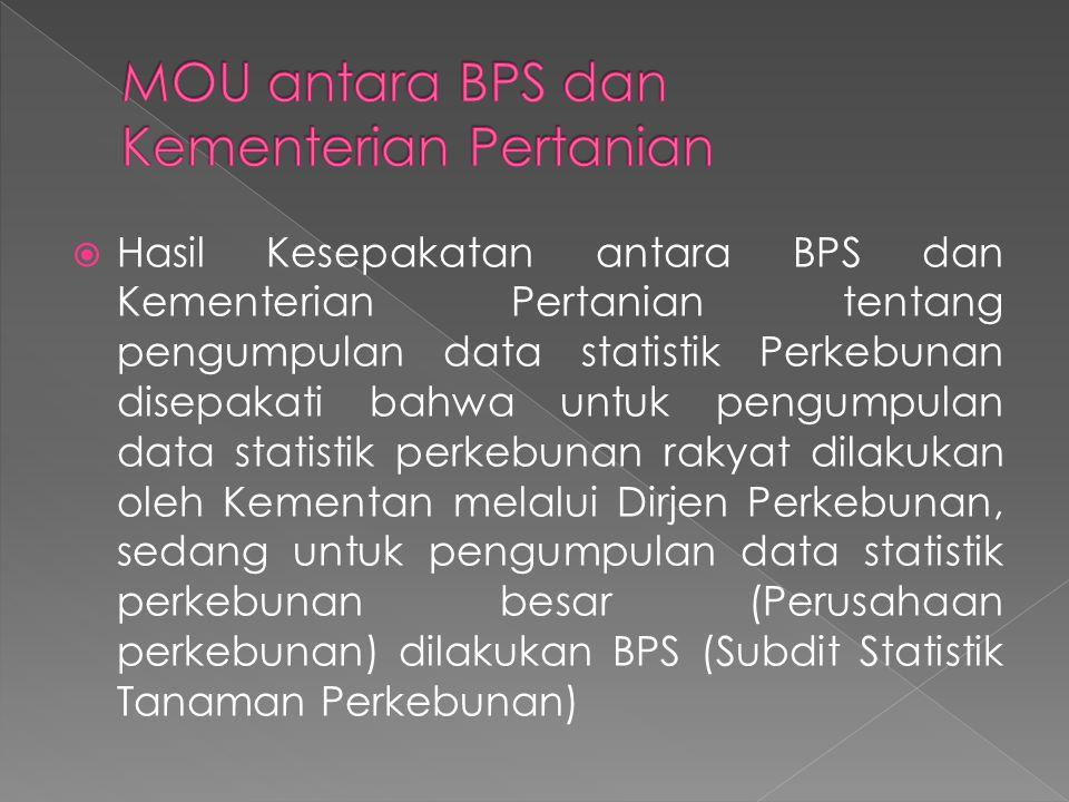  Hasil Kesepakatan antara BPS dan Kementerian Pertanian tentang pengumpulan data statistik Perkebunan disepakati bahwa untuk pengumpulan data statistik perkebunan rakyat dilakukan oleh Kementan melalui Dirjen Perkebunan, sedang untuk pengumpulan data statistik perkebunan besar (Perusahaan perkebunan) dilakukan BPS (Subdit Statistik Tanaman Perkebunan)