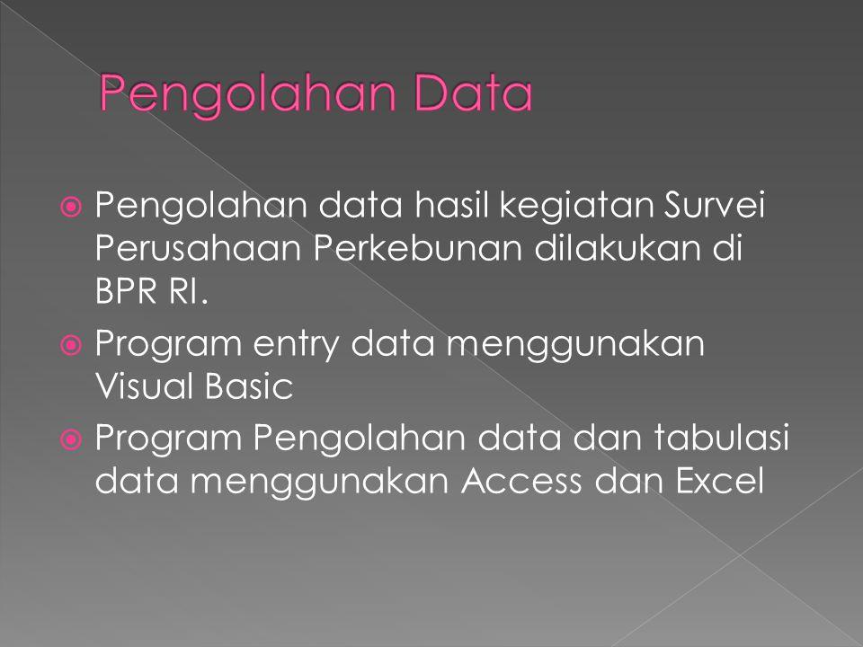  Pengolahan data hasil kegiatan Survei Perusahaan Perkebunan dilakukan di BPR RI.  Program entry data menggunakan Visual Basic  Program Pengolahan