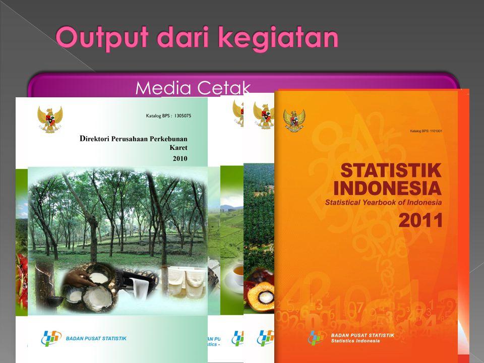 Media Cetak •Publikasi,, dan. Direktori Perusahaan Perkebunan K dan •I memuat data produksi komoditas perkebunan terpilih. •S : memuat luas dan produk
