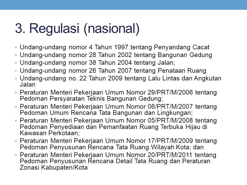 3. Regulasi (nasional) • Undang-undang nomor 4 Tahun 1997 tentang Penyandang Cacat • Undang-undang nomor 28 Tahun 2002 tentang Bangunan Gedung • Undan