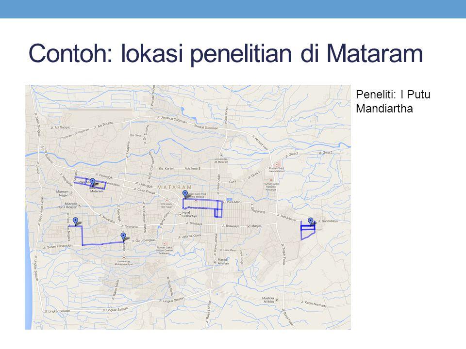Contoh: lokasi penelitian di Mataram Peneliti: I Putu Mandiartha