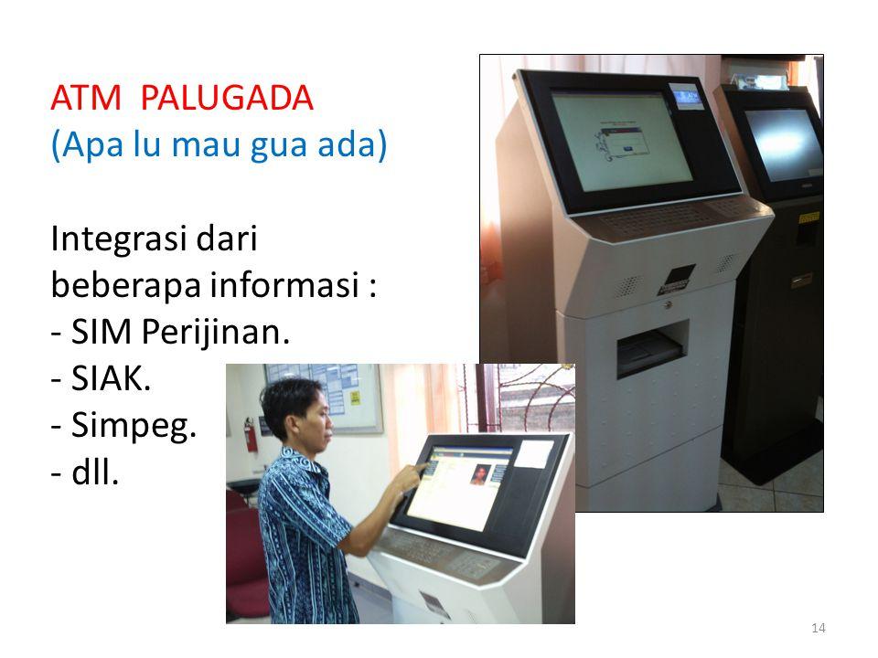 ATM PALUGADA (Apa lu mau gua ada) Integrasi dari beberapa informasi : - SIM Perijinan. - SIAK. - Simpeg. - dll. 14