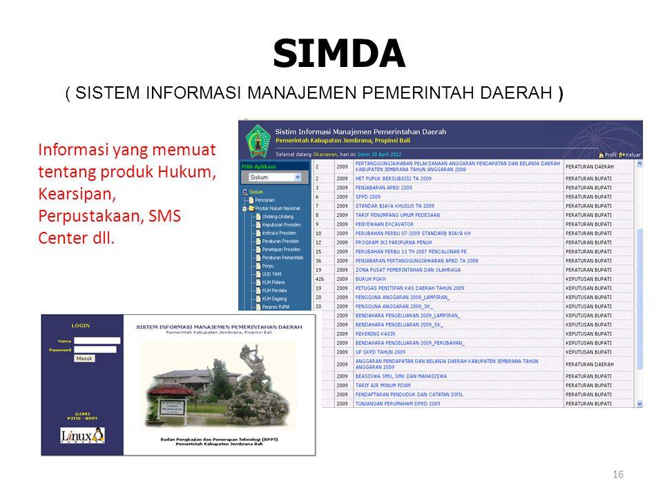 SIMDA ( SISTEM INFORMASI MANAJEMEN PEMERINTAH DAERAH ) Informasi yang memuat tentang produk Hukum, Kearsipan, Perpustakaan, SMS Center dll. 16