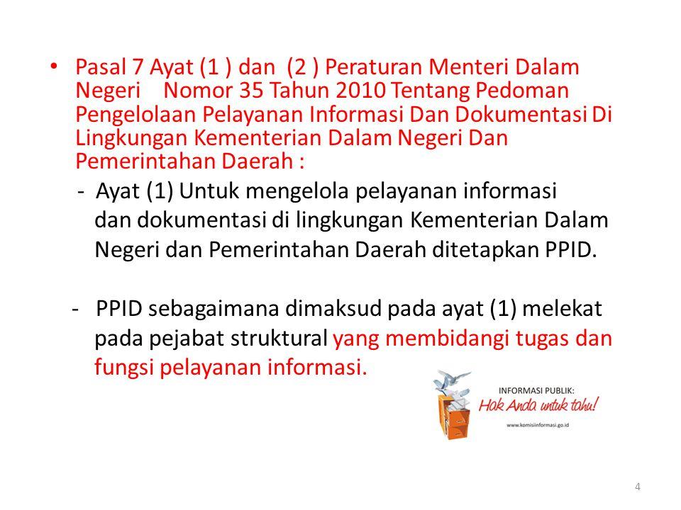 • Pasal 7 Ayat (1 ) dan (2 ) Peraturan Menteri Dalam Negeri Nomor 35 Tahun 2010 Tentang Pedoman Pengelolaan Pelayanan Informasi Dan Dokumentasi Di Lin