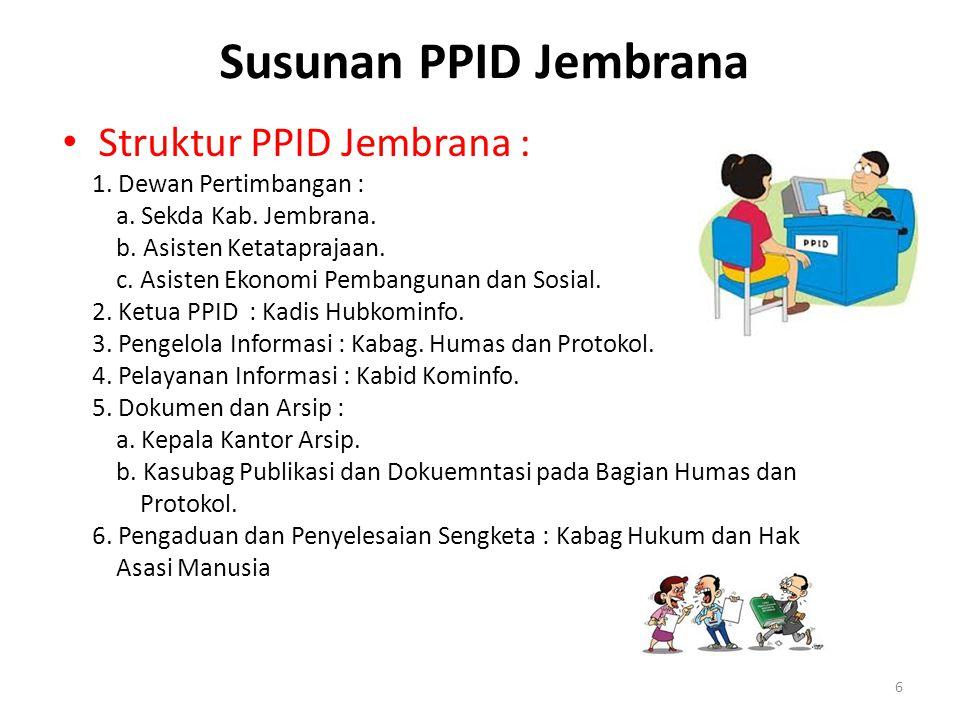 Susunan PPID Jembrana • Struktur PPID Jembrana : 1. Dewan Pertimbangan : a. Sekda Kab. Jembrana. b. Asisten Ketataprajaan. c. Asisten Ekonomi Pembangu