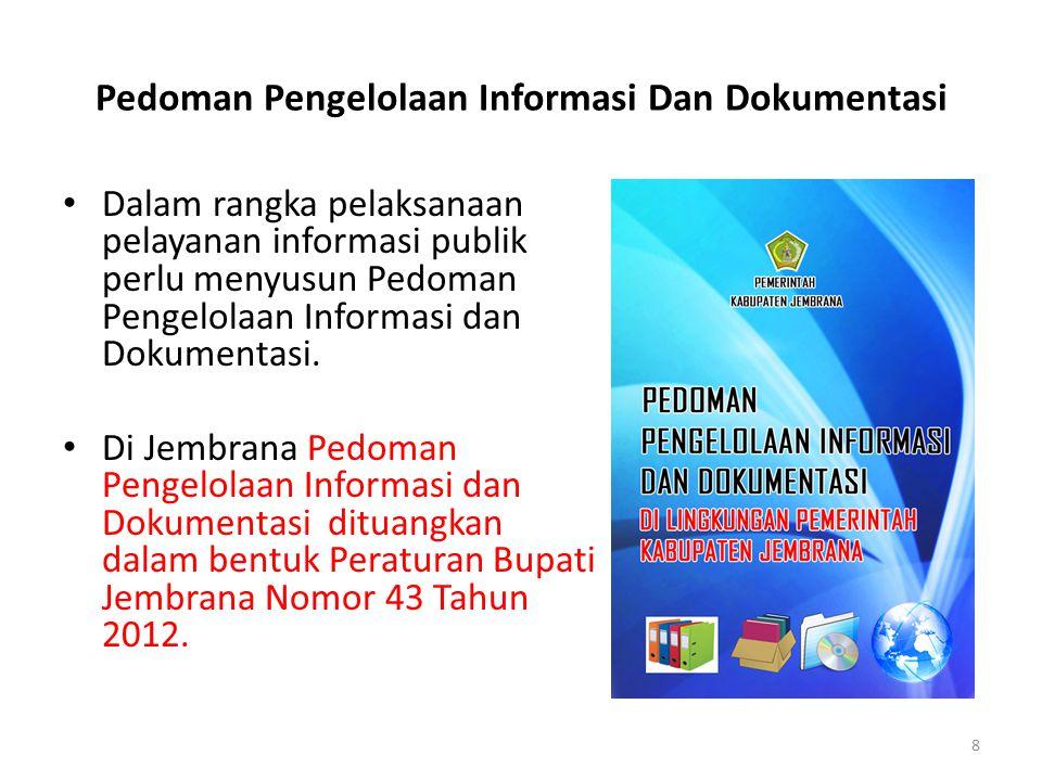 Pedoman Pengelolaan Informasi Dan Dokumentasi • Dalam rangka pelaksanaan pelayanan informasi publik perlu menyusun Pedoman Pengelolaan Informasi dan D
