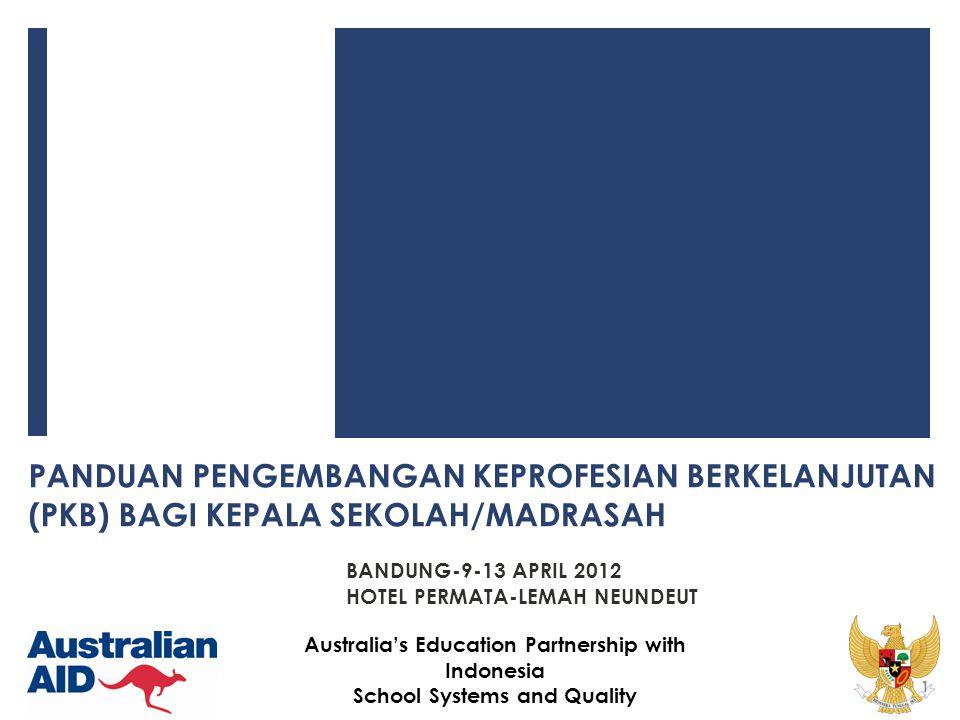 12 Australia's Education Partnership with Indonesia School Systems and Quality Hasil yang Diharapkan, terjadi peningkatan: 1.kualitas kinerja kepala sekolah/madrasah; 2.kualitas kepemimpinan kepala sekolah/madrasah; 3.kinerja sekolah/madrasah; 4.kualitas kepemimpinan pembelajaran; 5.kualitas kompetensi manajerial kepala sekolah/madrasah; 6.kualitas proses dan hasil supervisi akademik; 7.etos kerja dan jiwa kewirausahaan; 8.keteladanan bagi warga sekolah/madarasah dan masyarakat; 9.kualitas sumber daya manusia; dan 10.kualitas proses dan hasil pembelajaran peserta didik;