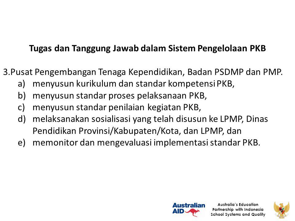 28 Australia's Education Partnership with Indonesia School Systems and Quality Tugas dan Tanggung Jawab dalam Sistem Pengelolaan PKB 3.Pusat Pengemban