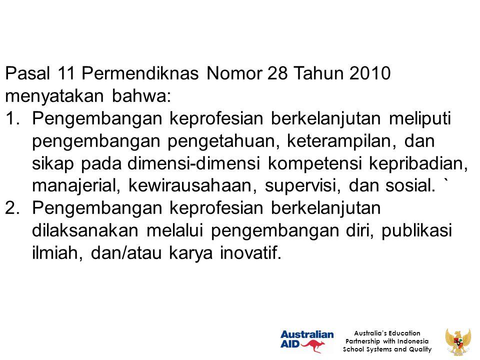 PERAN PENGAWAS SEKOLAH/ MADRASAH Australia's Education Partnership with Indonesia School Systems and Quality SUPERVISORS PRINCIPALS TEACHERS STUDENTS 1.Permendikn as 12/2007 2.Permenegp an dan RB 21/2010 3.SKB BKN & Kemendikn as 1.Permendik nas 13/2007.