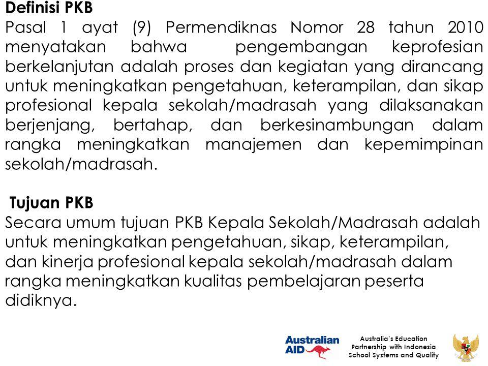 20 Australia's Education Partnership with Indonesia School Systems and Quality Penilaian Kinerja Evaluasi/ Penilaian PKB Analisis Kebutuhan PKB berdasarkan hasil PK Pelaksanaan PKB Desain (Rancang Bangun) PKB 2 4 3 5 6 1 UK