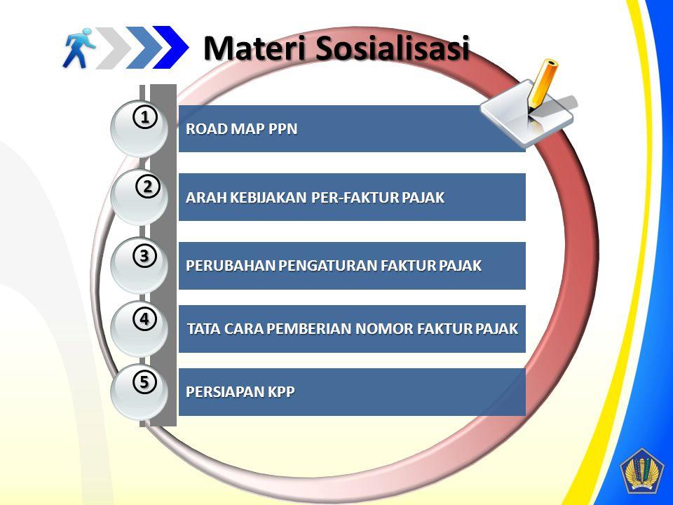 Materi Sosialisasi 1 2 3 4 5 ROAD MAP PPN ARAH KEBIJAKAN PER-FAKTUR PAJAK PERUBAHAN PENGATURAN FAKTUR PAJAK TATA CARA PEMBERIAN NOMOR FAKTUR PAJAK PER