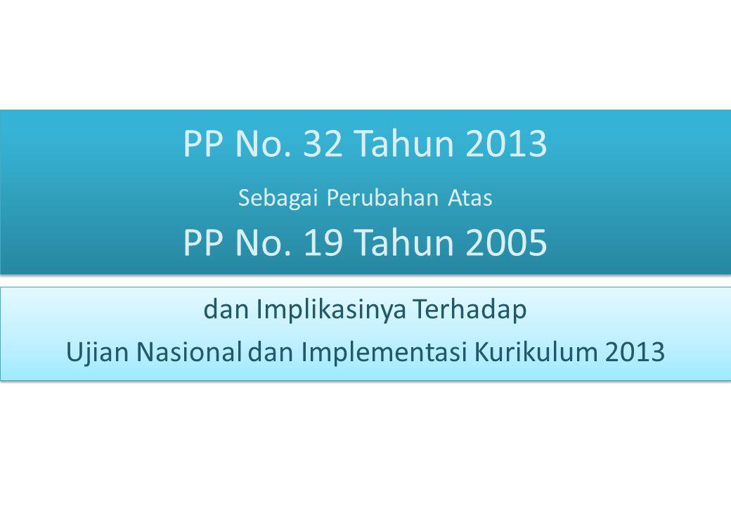 PP No. 32 Tahun 2013 Sebagai Perubahan Atas PP No. 19 Tahun 2005 dan Implikasinya Terhadap Ujian Nasional dan Implementasi Kurikulum 2013 dan Implikas