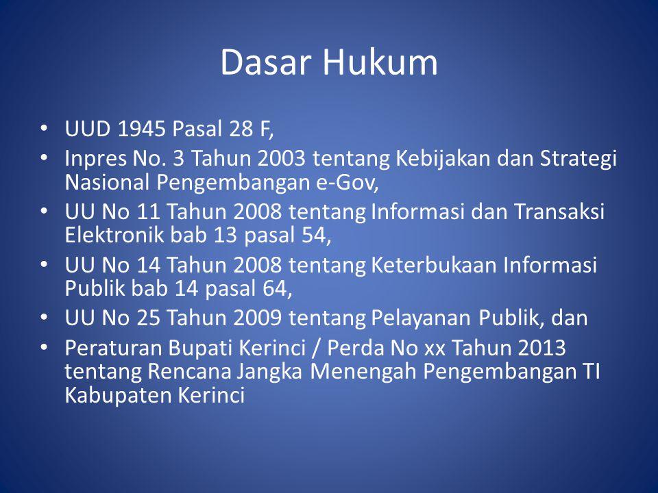Dasar Hukum • UUD 1945 Pasal 28 F, • Inpres No. 3 Tahun 2003 tentang Kebijakan dan Strategi Nasional Pengembangan e-Gov, • UU No 11 Tahun 2008 tentang