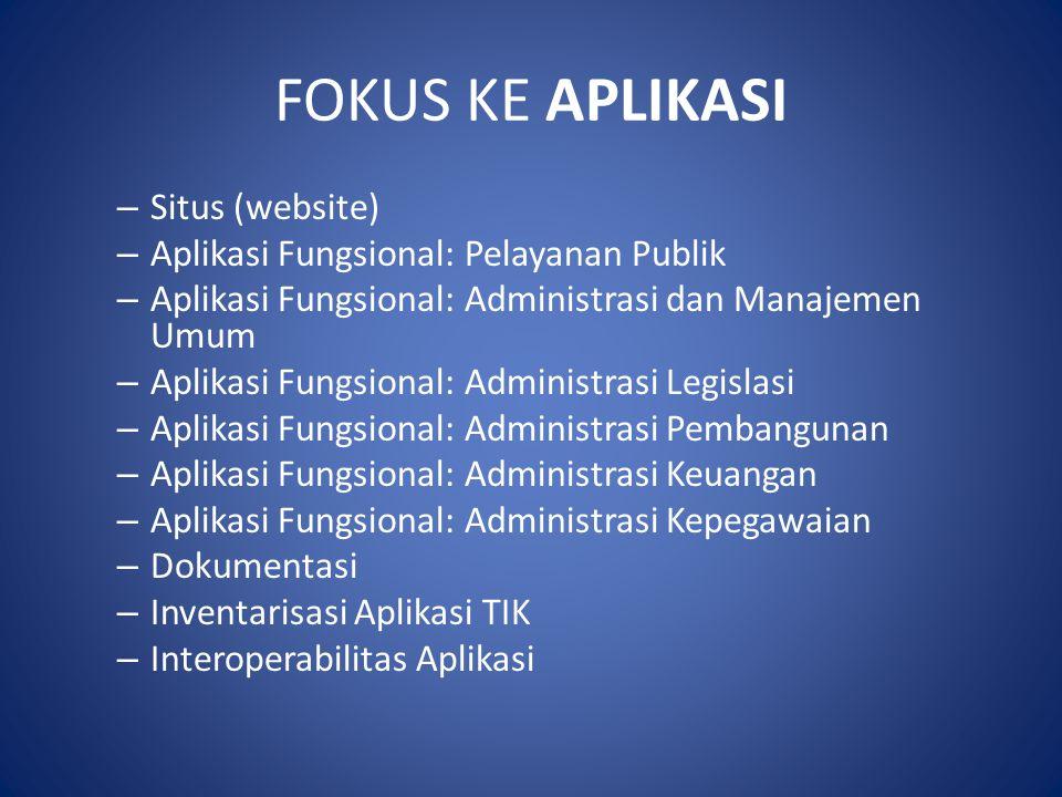 FOKUS KE APLIKASI – Situs (website) – Aplikasi Fungsional: Pelayanan Publik – Aplikasi Fungsional: Administrasi dan Manajemen Umum – Aplikasi Fungsion