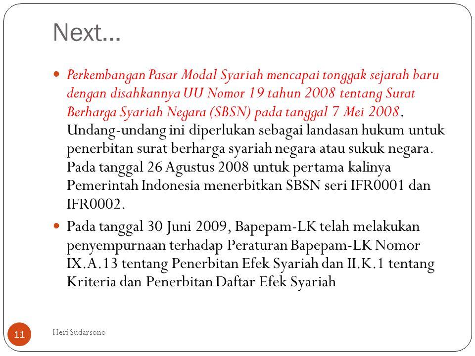 Next…  Perkembangan Pasar Modal Syariah mencapai tonggak sejarah baru dengan disahkannya UU Nomor 19 tahun 2008 tentang Surat Berharga Syariah Negara