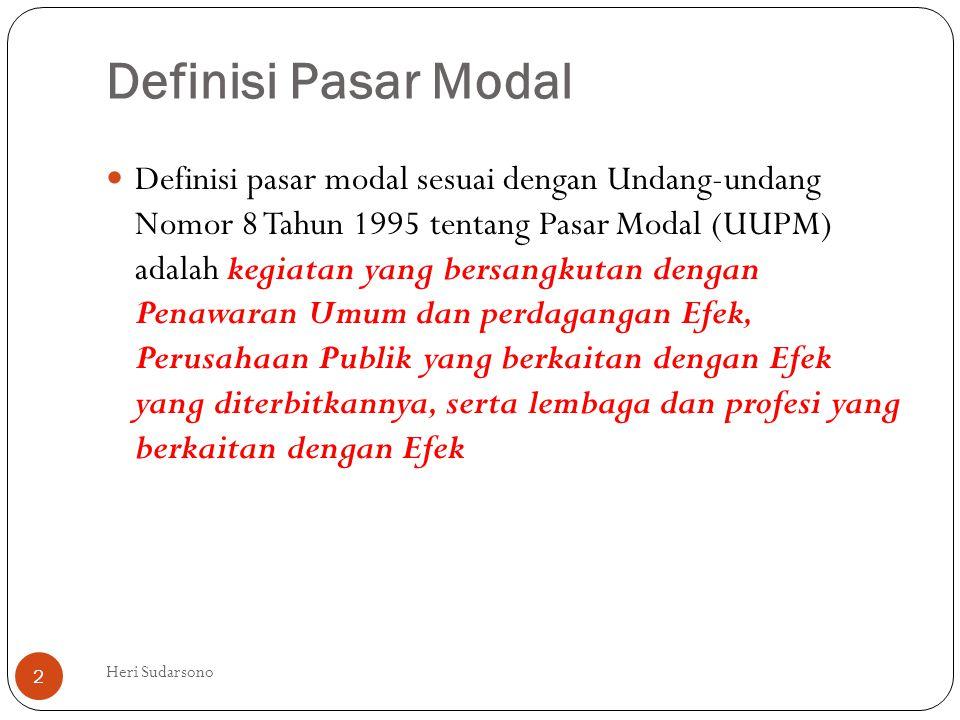 Definisi Pasar Modal  Definisi pasar modal sesuai dengan Undang-undang Nomor 8 Tahun 1995 tentang Pasar Modal (UUPM) adalah kegiatan yang bersangkuta