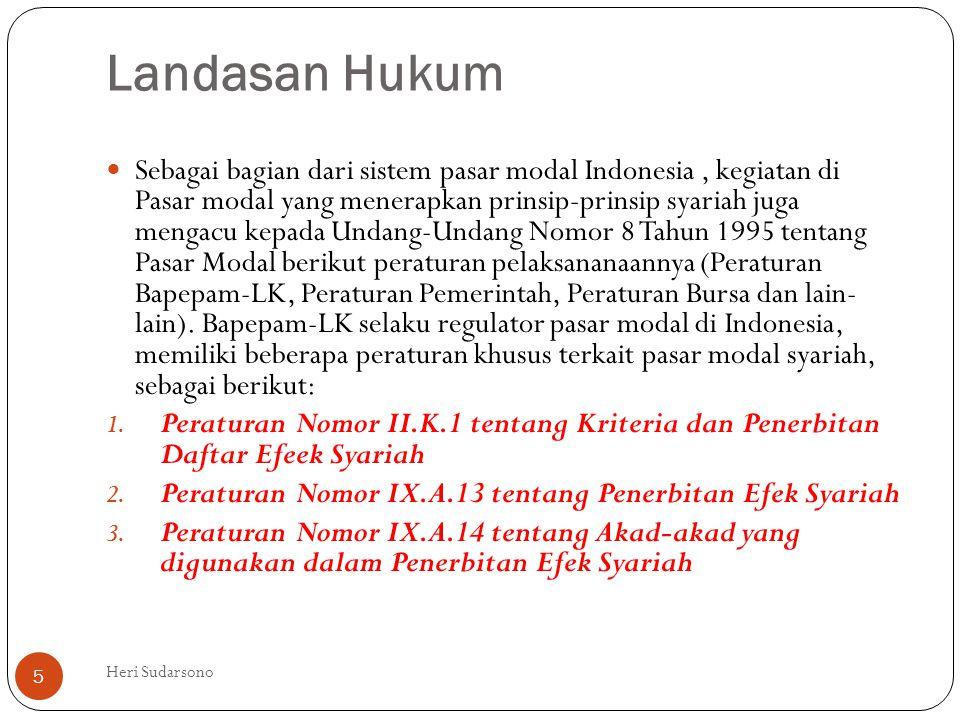 Landasan Hukum  Sebagai bagian dari sistem pasar modal Indonesia, kegiatan di Pasar modal yang menerapkan prinsip-prinsip syariah juga mengacu kepada