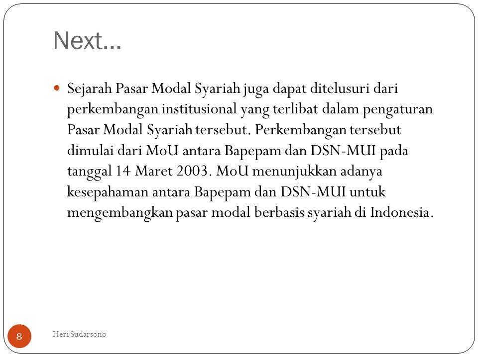 Next…  Sejarah Pasar Modal Syariah juga dapat ditelusuri dari perkembangan institusional yang terlibat dalam pengaturan Pasar Modal Syariah tersebut.