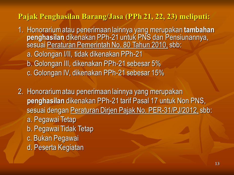 13 Pajak Penghasilan Barang/Jasa (PPh 21, 22, 23) meliputi: 1. Honorarium atau penerimaan lainnya yang merupakan tambahan penghasilan dikenakan PPh-21
