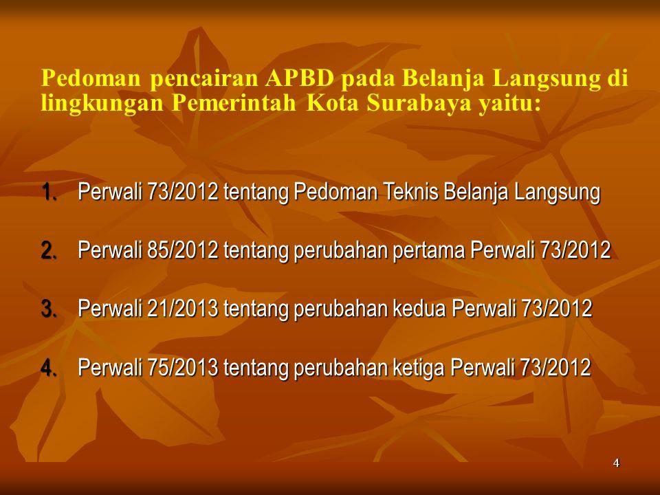 4 Pedoman pencairan APBD pada Belanja Langsung di lingkungan Pemerintah Kota Surabaya yaitu: 1.Perwali 73/2012 tentang Pedoman Teknis Belanja Langsung