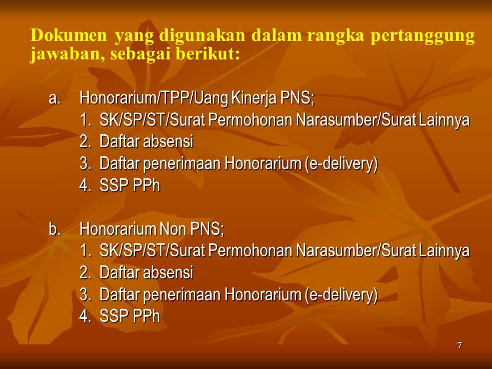 7 Dokumen yang digunakan dalam rangka pertanggung jawaban, sebagai berikut: a.Honorarium/TPP/Uang Kinerja PNS; 1. SK/SP/ST/Surat Permohonan Narasumber