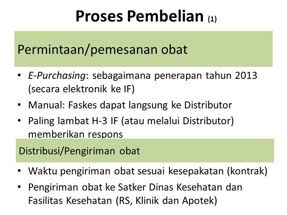 Permintaan/pemesanan obat • E-Purchasing: sebagaimana penerapan tahun 2013 (secara elektronik ke IF) • Manual: Faskes dapat langsung ke Distributor •