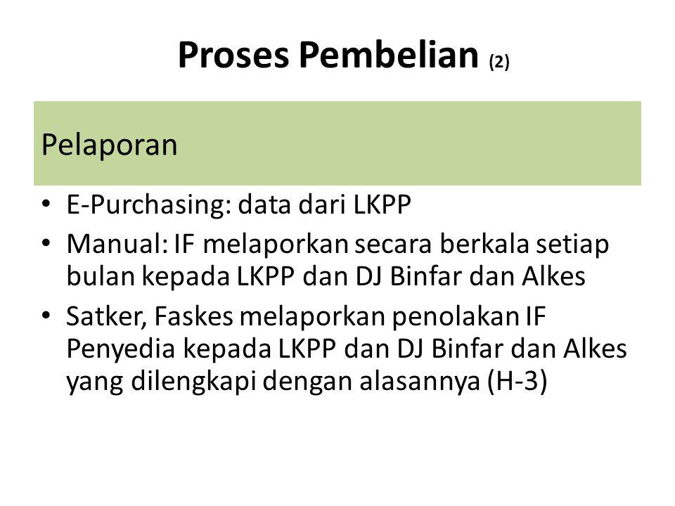 Pelaporan • E-Purchasing: data dari LKPP • Manual: IF melaporkan secara berkala setiap bulan kepada LKPP dan DJ Binfar dan Alkes • Satker, Faskes mela