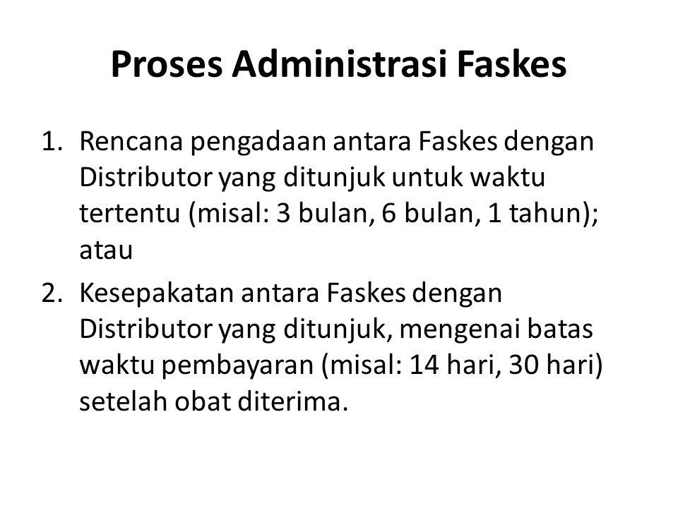 Proses Administrasi Faskes 1.Rencana pengadaan antara Faskes dengan Distributor yang ditunjuk untuk waktu tertentu (misal: 3 bulan, 6 bulan, 1 tahun);